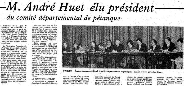 Article de la liberté du Morbihan sur le comité du Morbihan de pétanque 1975