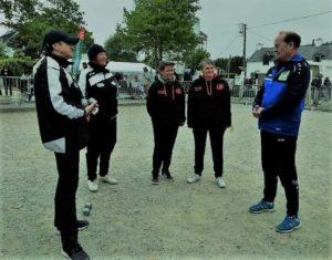 debut de la finale du championnat doublette feminin à quiberon en 2019