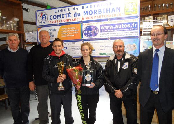 Les champions du Morbihan doublette mixte 2013 de pétanque