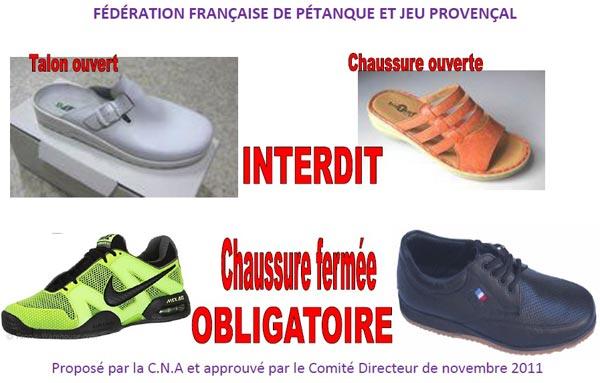 Chaussures fermees pour une tenue FFPJP
