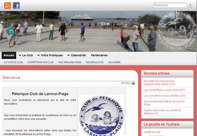 écran du site de pétanque de larmor-plage