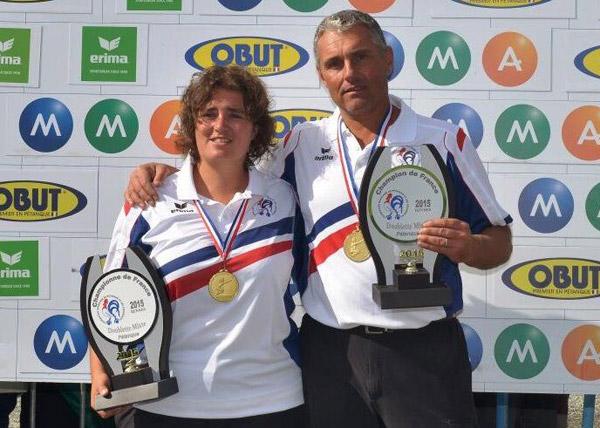 champions de petanque doublette mixte denaud et loy