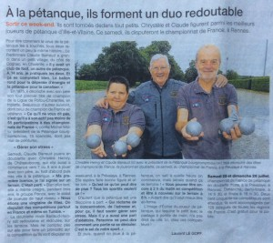 Article petanque ouest france rennes