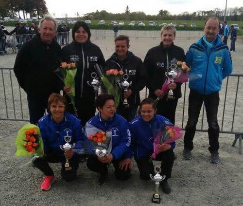 feminines récompensés au championnat triplette 2016 à Plouay
