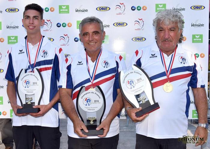 Les champions de France de petanque triplette promotion 2016 à Bagnols sur Cèze