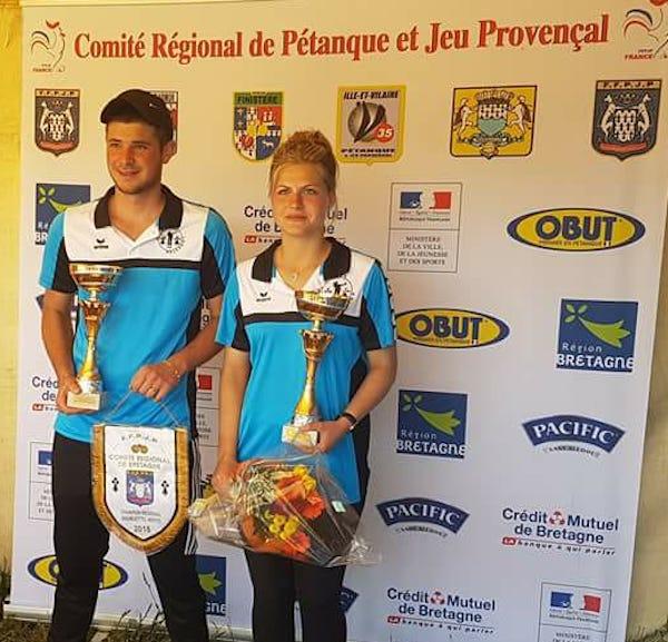 champions de Bretagne en doublette mixte 2018 à Lamballe