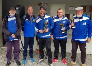 Champions de pétanque promotion 2019 à Pénestin Jack Davy Luc et Olliver avec Philippe Stéphant