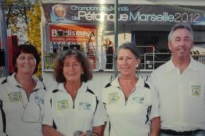 la triplette morbihannaise au championnat de France de pétanque à Pau en 2012